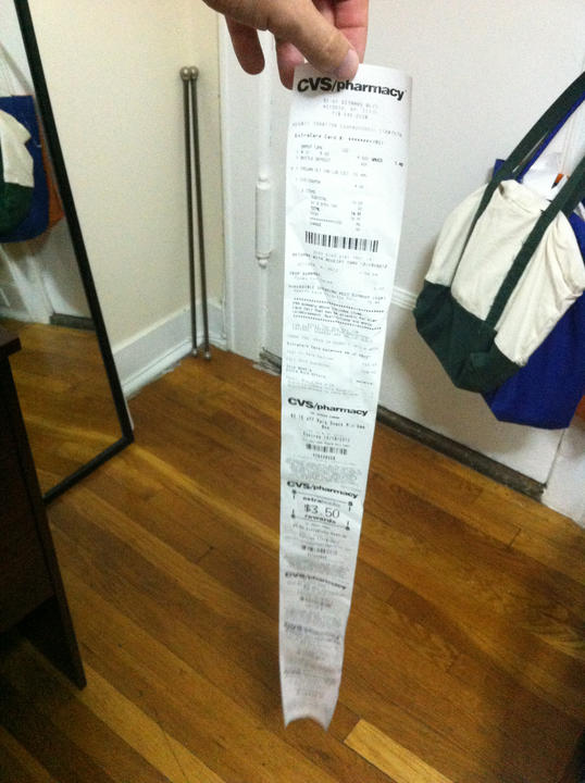 Buy two items, get 35 inches of receipt.