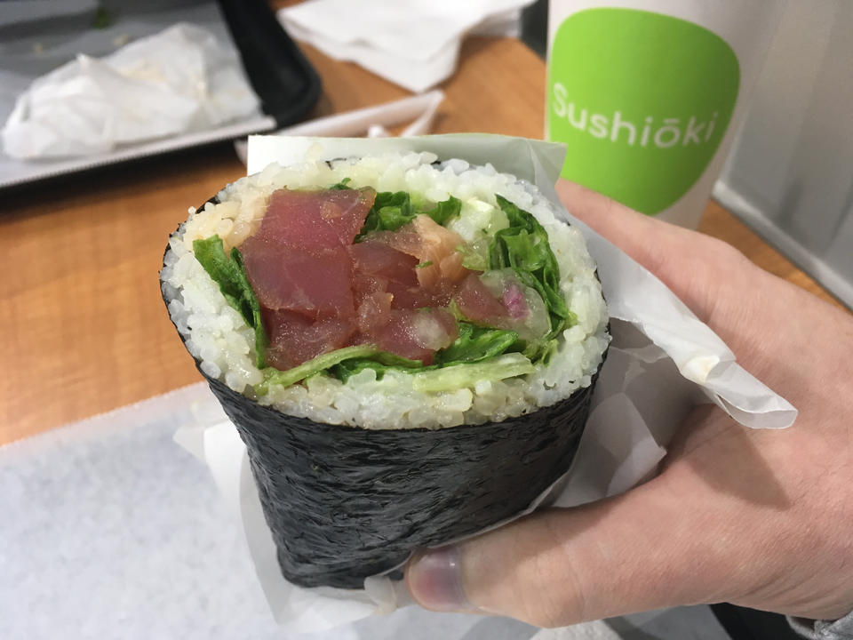 This half sushi roll is the size of my fist.