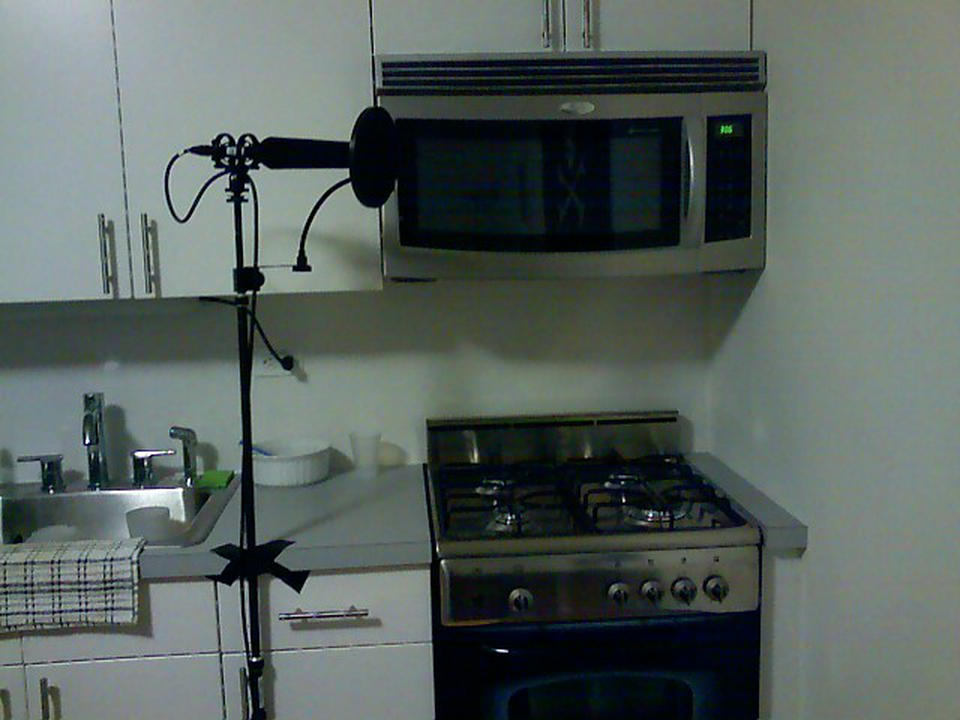 You got kitchen on my sound booth!